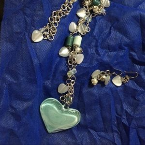 Silver Necklace with Glass Beads & Earrings